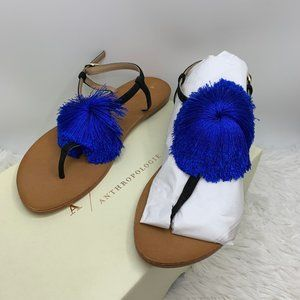 NEW Anthropologie Cheery Blue Pom Sandals 8.5